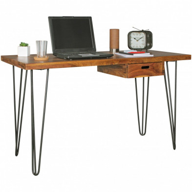 Bureau marron contemporain en bois massif L. 130 x P. 60 x H. 76 cm collection Kyana