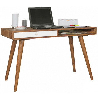 Bureau contemporain blanc scandinave en bois massif L. 120 x P. 60 x H. 75 cm collection Seck