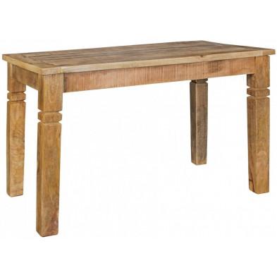 Table de salle à manger en bois massif marron rustique en bois massif L. 120 x P. 70 x H. 76 cm collection Hesitant