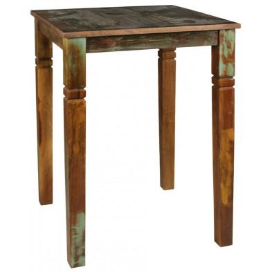 Table de salle à manger en bois massif marron rustique en bois massif L. 80 x P. 80 x H. 110 cm collection Fobe