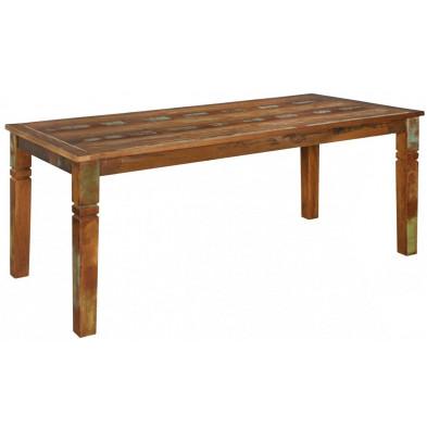 Table rustique en bois massif marron  L. 180 x P. 90 x H. 76 cm collection Fobe