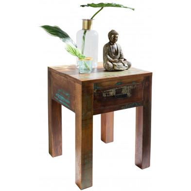 Table d'appoint marron vintage en bois massif L. 40 x P. 40 x H. 55 cm collection Tindra