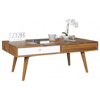 Table basse en bois blanc scandinave en bois massif L. 110 x P. 60 x H. 42 cm collection Seck