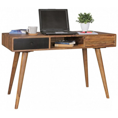 Bureau scandinave en bois massif marron L. 120 x P. 60 x H. 75 cm collection Finn