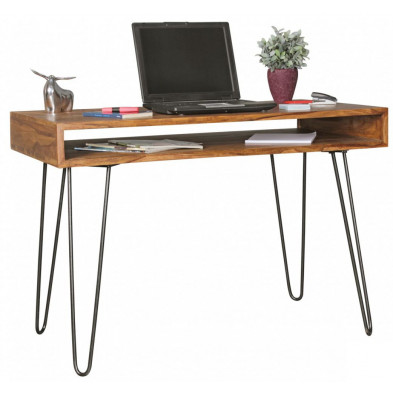 Bureau marron contemporain en bois massif L. 110 x P. 60 x H. 76 cm collection Kyana