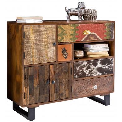 Buffet - bahut - enfilade vintage en bois massif marron avec piètement en acier L. 90 x P. 35 x H. 80 cm collection Baelen