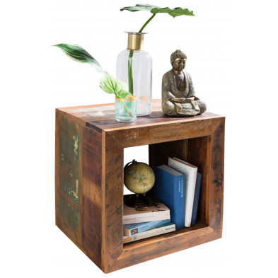 Table basse en bois marron contemporain en bois massif manguier L. 35 x P. 35 x H. 45 cm collection Tindra