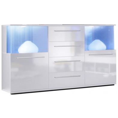 Buffet 2 portes avec éclairage LED et 4 tiroirs coloris blanc L. 141,5 x P. 40 x H. 82 cm collection Keith