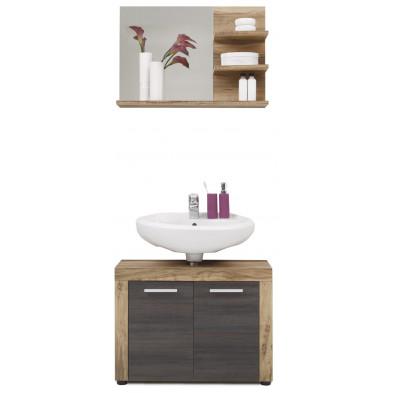 Meubles de salle de bain 2 pièces coloris chêne et gris foncé L. 72 x P. 34 x H. 174 cm collection Rohrdorf