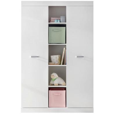 Armoire de bébé design à 2 portes et 5 compartiments ouverts coloris blanc  L. 120 x P. 54 x H. 185 cm collection Comiziano