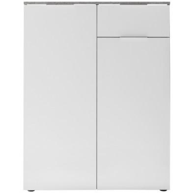 Commode 2 portes et 1 tiroir coloris blanc et gris béton L. 85 x P. 40 x H. 113 cm collection Troisponts