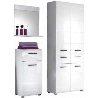 Meubles de salle de bain 3 pièces coloris blanc L. 200 x P. 31 x H. 182 cm collection Zwalm