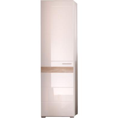 Meuble de rangement 1 porte coloris blanc et chêne San Remo L. 55 x P. 38 x H. 195 cm collection Ferintosh