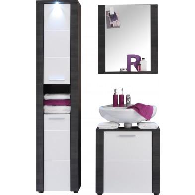 Meubles de salle de bain Design 3 pièces avec éclairage LED coloris blanc et frêne gris   L. 120 x P. 35 x H. 184 cm collection Brawny