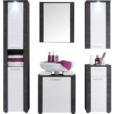 Meubles de salle de bain Design 5 pièces avec éclairage LED coloris blanc et frêne gris L. 181 x P. 35 x H. 184 cm collection Brawny