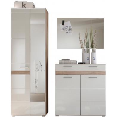 Vestiaire avec armoire 2 portes , meuble à chaussure et miroir coloris blanc et chêne de San Remo L. 173 x P. 38 x H. 195 cm collection Janbon