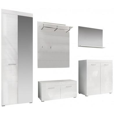 Ensemble vestiaire avec meuble bas + armoire 2 portes + meuble à chaussure + miroir et meuble vestiaire coloris blanc L. 264 x P. 38 x H. 195 cm collection Wardin