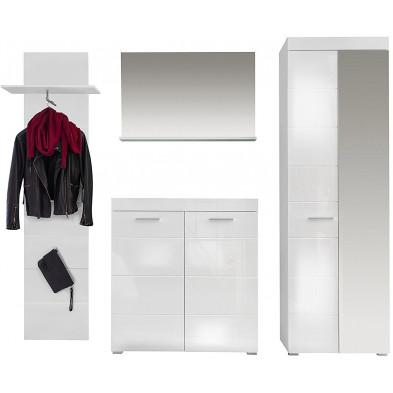 Ensemble vestiaire avec armoire 2 portes + meuble à chaussure + miroir et meuble vestiaire coloris blanc L. 233 x P. 38 x H. 195 cm collection Wardin
