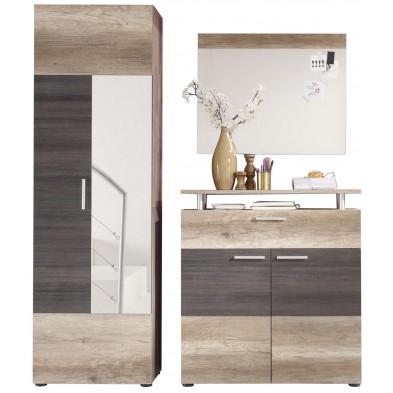 Vestiaire avec armoire 2 portes , meuble à chaussure et miroir coloris chêne clair et foncé L. 165 x P. 37 x H. 191 cm collection Famous