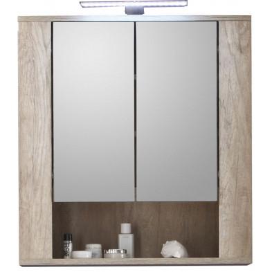 Armoire murale pour salle de bain avec miroir à 2 portes , 1 étagère et éclairage LED coloris chêne clair L. 70 x P. 22 x H. 75 cm collection Galdakao