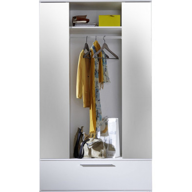Armoire design coloris blanc L. 115 x P. 42 x H. 195 cm collection Vodelee