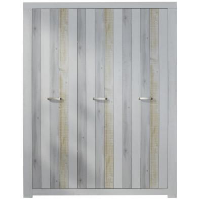 Armoire de bébé 3 portes en panneaux de particules coloris blanc et multi-couleur L. 154 x P. 54 x H. 195 cm collection  Ask