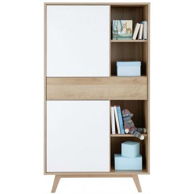 Armoire de bébé à 2 portes ,1 tiroir et 4 niches ouvertes coloris blanc et chêne L. 80 x P. 40 x H. 145 cm collection Ihbane