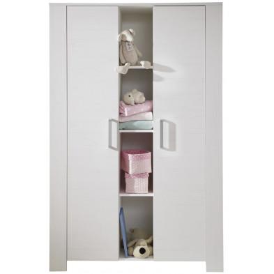 Armoire de bébé design à 2 portes et 4 compartiments ouverts coloris blanc L. 130 x P. 57 x H. 186 cm collection Vigo