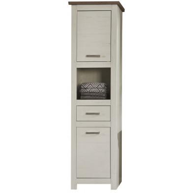 Colonne de rangement pour salle de bain design  coloris pin blanc et chêne Nelson L. 53 x P. 37 x H. 196 cm collection Stevan