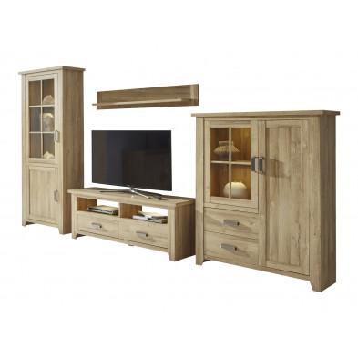 Ensemble meuble TV avec 1 banc TV, 2 vitrines et 1 étagère coloris chêne  L. 359 x P. 48 x H. 206 cm collection Trabulheira