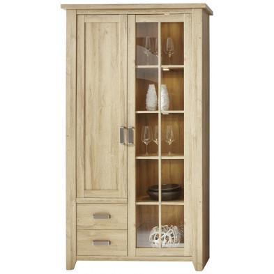 Vitrine 2 portes (dont 1 vitrée avec éclairage LED) et 2 tiroirs coloris chêne L 113 x P 42 x H 206 cm collection Trabulheira
