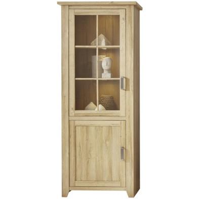 Vitrine 2 portes (dont 1 vitrée avec éclairage LED) coloris chêne L. 83 x P. 42 x H. 206 cm collection Trabulheira
