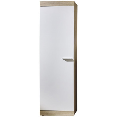 Armoire contemporaine 1 porte coloris blanc et chêne L. 58 x P. 34,5 x H. 194 cm collection Fluffy