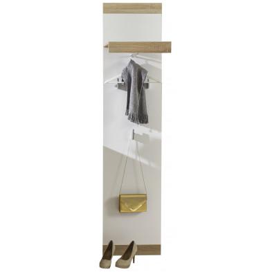 Porte-manteau mural contemporain coloris blanc et chêne  L. 45 x P. 26 x H. 192 cm collection Fluffy