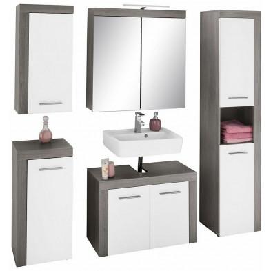 Meubles de salle de bain 5 pièces coloris blanc et gris anthracite L. 175 x P. 34 x H. 184 cm collection  Aberfan