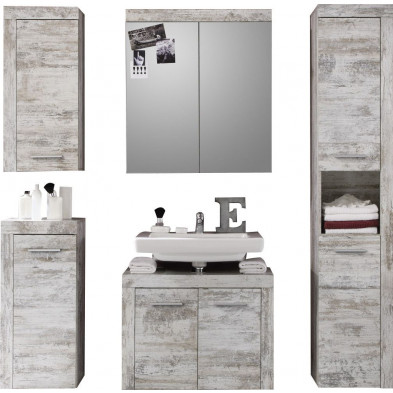 Meubles de salle de bains 5 pièces coloris pin canyon blanc L. 175 x P. 34 x H. 184 cm collection Rohrdorf