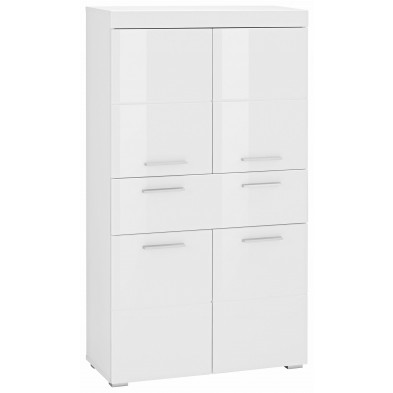 Armoire de rangement pour salle de bain à 4 portes et 1 tiroir coloris blanc L. 73 x P. 31 x H. 132 cm collection Mayla