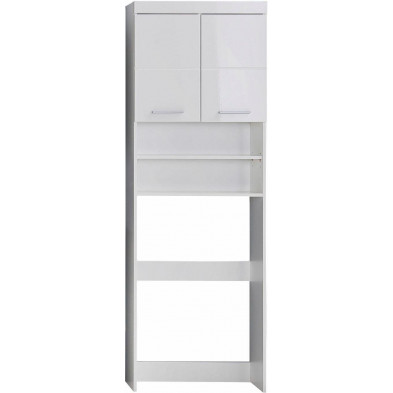 Armoire de rangement pour salle de bain à 2 portes et 2 niches coloris blanc L. 63 x P. 24 x H. 187 cm collection Mayla