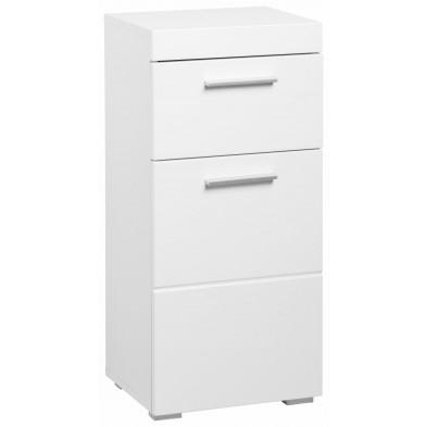 Armoire de rangement pour salle de bain 1 porte et 1 tiroir coloris blanc L. 37 x P. 31 x H. 79 cm collection Mayla