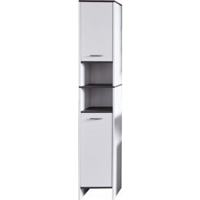 Colonne de rangement 2 portes et 2 niches coloris blanc L. 32 x P. 28 x H. 180 cm collection Romano
