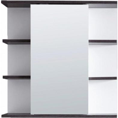 Armoire murale pour salle de bain avec porte miroir et 6 étagères coloris blanc et gris L. 60 x P. 20 x H. 60 cm collection Romano