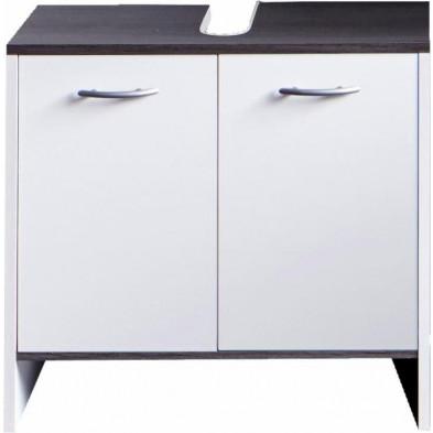 Meuble sous vasque 2 portes coloris blanc L. 60 x P. 28 x H. 55 cm collection Romano