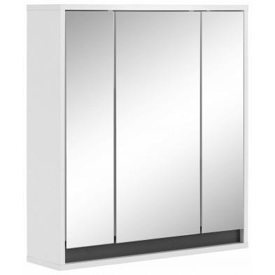 Armoire murale pour salle de bain avec 3 portes miroirs coloris blanc L. 67 x P. 18 x H. 73 cm collection Sluis