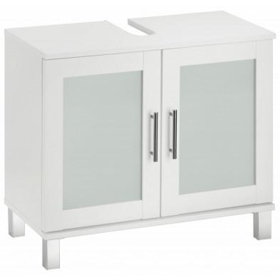 Meuble sous vasque 2 portes coloris blanc L. 65 x P. 33 x H. 56 cm collection Horsman