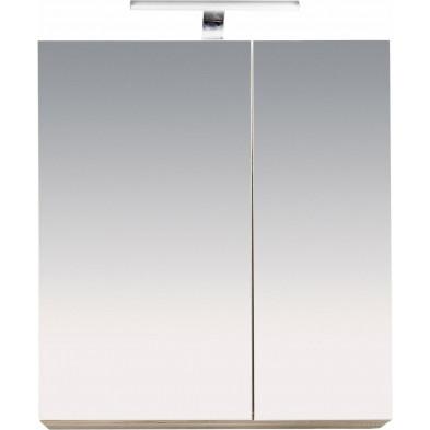 Armoire murale pour salle de bain avec 2 portes miroirs coloris chêne Sagerau  L. 65 x P. 21 x H. 70 cm collection Cheriton