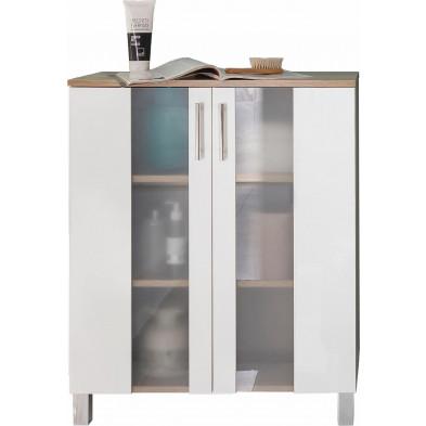 Armoire de rangement pour salle de bain 2 portes coloris chêne Sagerau et blanc L. 65 x P. 31 x H. 80 cm collection Cheriton