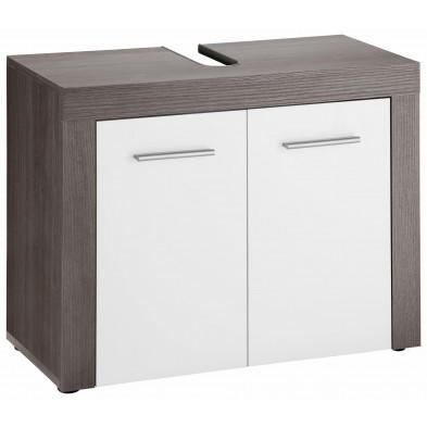 Meuble sous vasque 2 portes coloris blanc et gris anthracite  L. 72 x P. 34 x H. 56 cm collection Aberfan