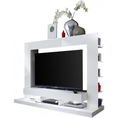 Ensemble meuble TV coloris blanc en panneaux de particules mélaminés L. 170 x P. 46 x H. 124 cm collection Motionless