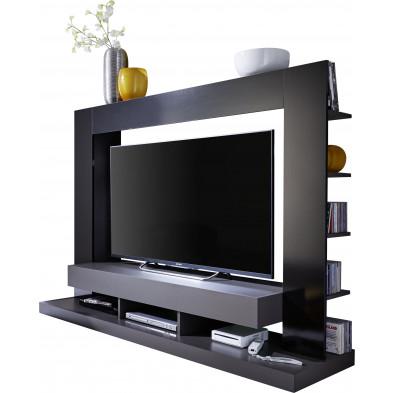 Ensemble meuble TV design gris et noir en panneaux de particules mélaminés L. 170 x P. 46 x H. 124 cm collection Motionless