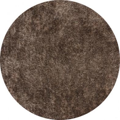 Tapis shaggy moderne coloris marron avec des motifs uni L. 120 x P. 120 x H. 5 cm Collection Wailuku